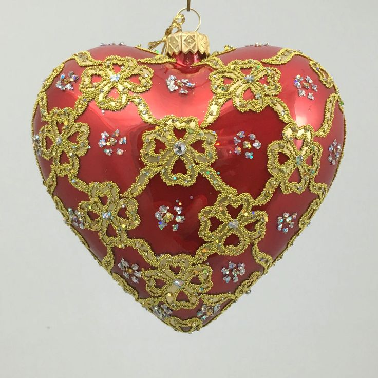 Valentine s Day HEART RED RIBBON 4.72  glass ornament hand-made in Poland  | eBay