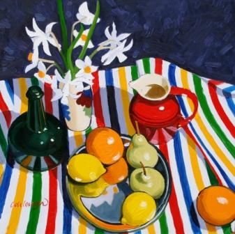 Scottish Artist Frank COLCLOUGH-Still Life Study on Striped Cloth