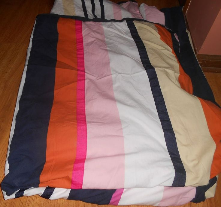 Kate Spade Twin Duvet Cover Candy Shop Stripe Pink White Orange  #KateSpade