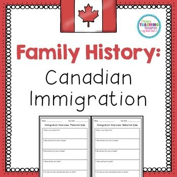 "This Canadian immigration homework activity contains a parent letter and templates for students to interview their mom and dad about their family's immigration story. You will also receive a full colour ""Immigration Map"" sign for your bulletin board."