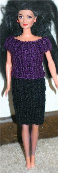 Free Knitting Pattern: Barbie Shirt & Skirt using Worsted Weight Yarn