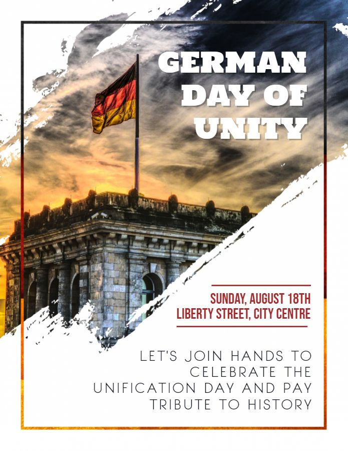 German Day Of Unity Aesthetic Poster Flyer Placard Template German Unity Day Event Poster Leaflet Template