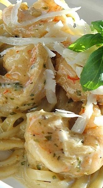 Shrimp Linguine with Pesto Cream Sauce