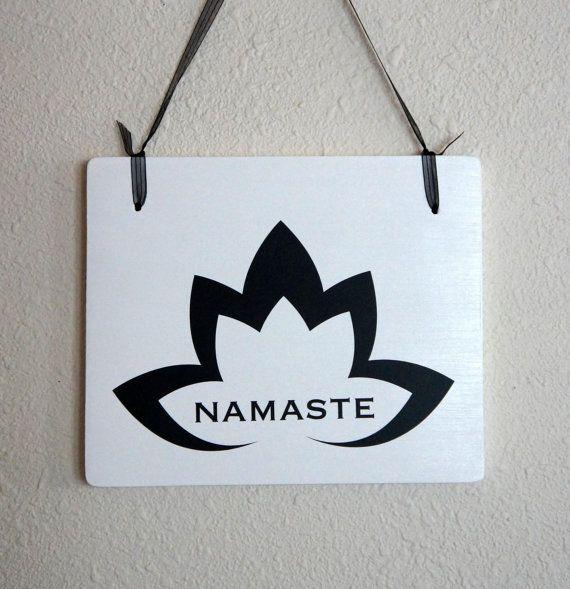 Namaste symbol with Lotus Flower wood hanging by Frameyourstory, $29.99