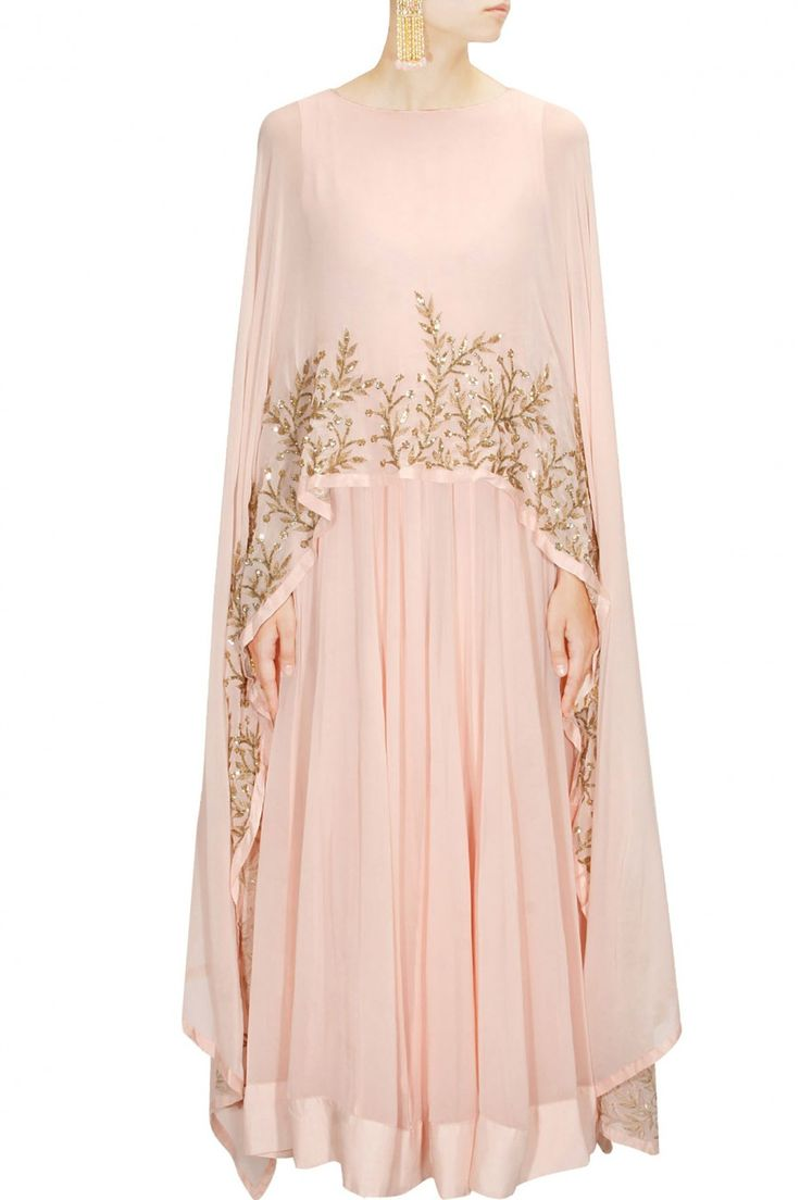 PRATHYUSHA GARIMELLA Blush pink embellished cape gown/anarkali available only at Pernia's Pop Up Shop.