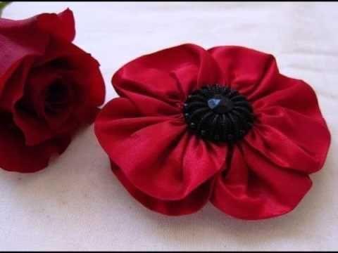 Как сделать красивые цветы из ленты - YouTube
