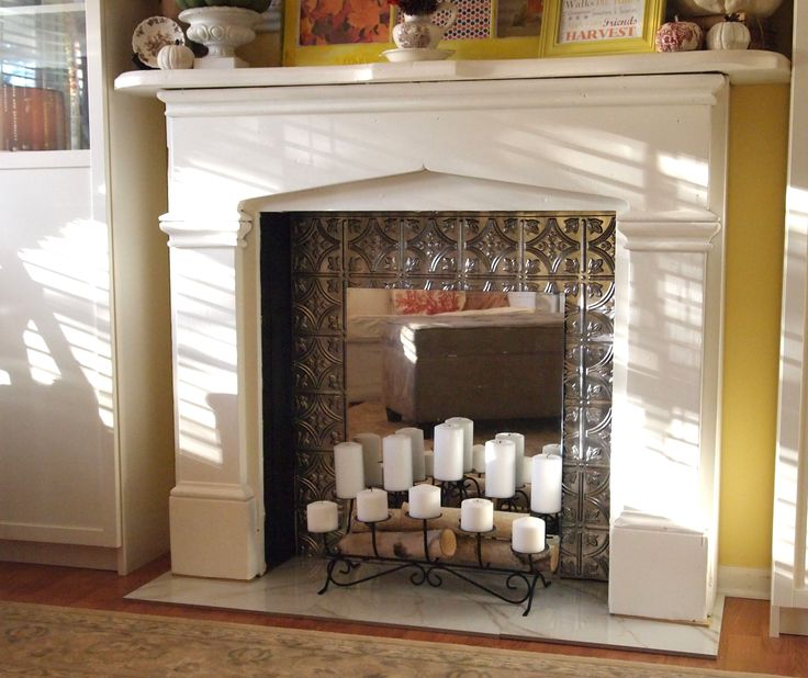 faux fireplace ideas   Faux Ceiling Tin Fireplace Firebox — A Cultivated Nest