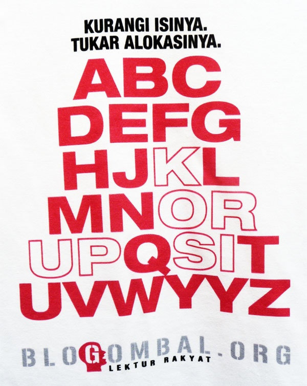 "The art of corruption with typography. Remove the fillings, change the allocations.   There is a word: ""korupsi"". Made for blogombal.org"
