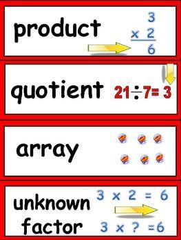 Math Word Wall Cards for Third Grade- Common Core Standards - Jane Williams - TeachersPayTeachers.com