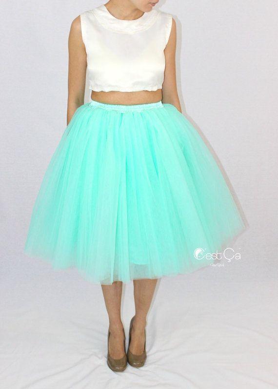 Clarisa - Mint Green Tulle Skirt, 6-Layers Puffy Tutu, Adult Tutu, Plus Size Tutu, Princess Tulle Skirt, Bridesmads Skirt, Midi Tutu