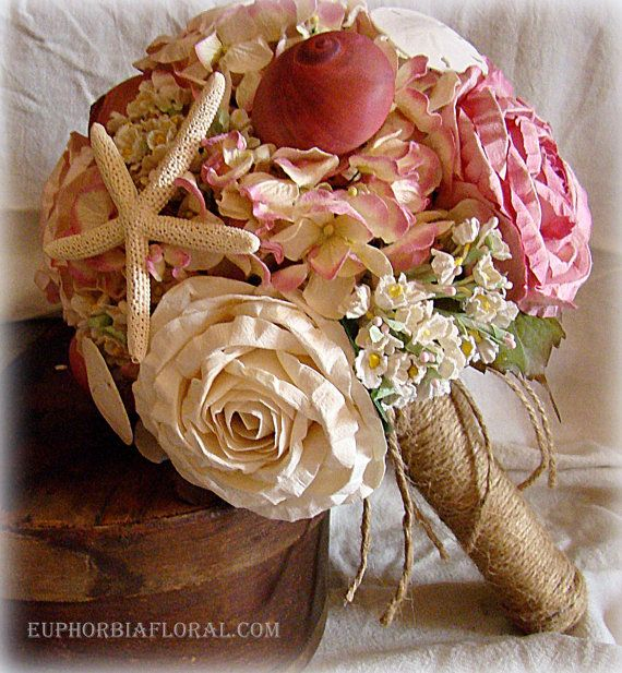 Nautical Wedding Bouquet Pink Shell Sea By EuphorbiaFloral