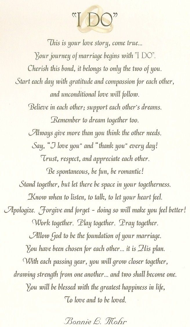 I Would Have The Priest Read This Before We Day Our Vows Or Say Do