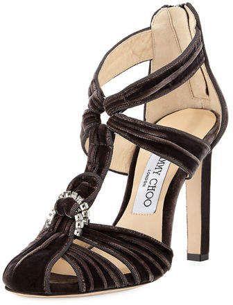 8994b0f9df58  Affiliated  Sandal  Pink  JimmyChoo  NeimanMarcus  Stilleto EXCLUSIVELY AT  NEIMAN MARCUS Jimmy Choo ridged velvet sandal with crystal embellishment.