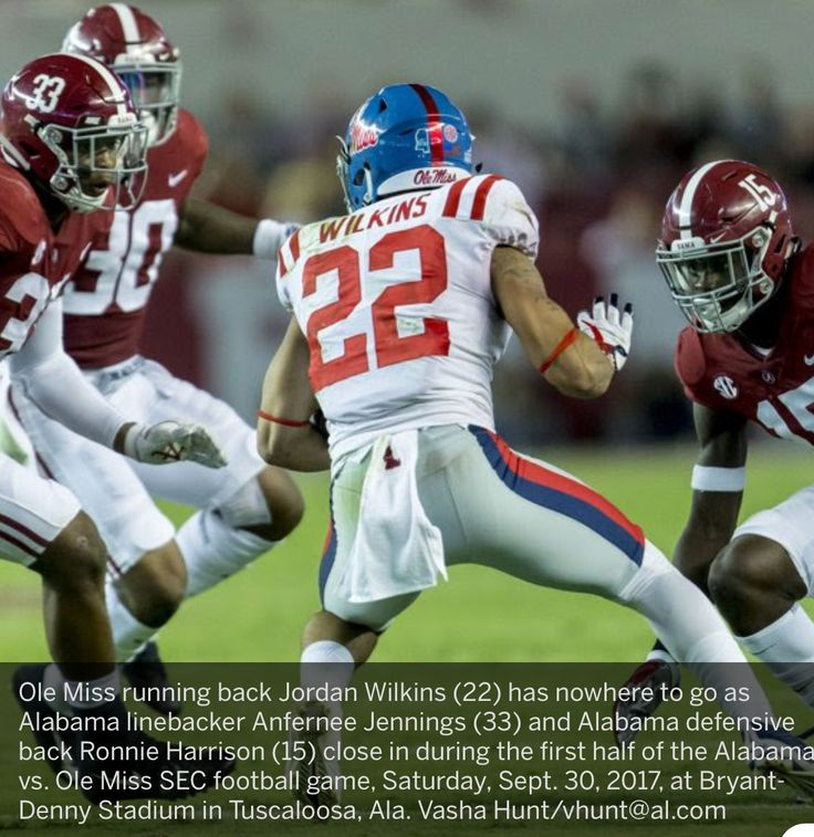 Ole Miss running back Jordan Wilkins (22) has nowhere to go as Alabama linebacker Anfernee Jennings (33) and Alabama defensive back Ronnie Harrison (15) close in during the first half of the Alabama vs. Ole Miss SEC football game, Saturday, Sept. 30, 2017, at Bryant-Denny Stadium in Tuscaloosa, Ala. Vasha Hunt/vhunt@al.com