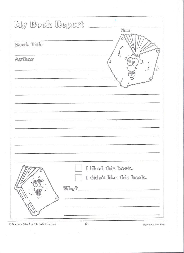 Book Report Second Grade