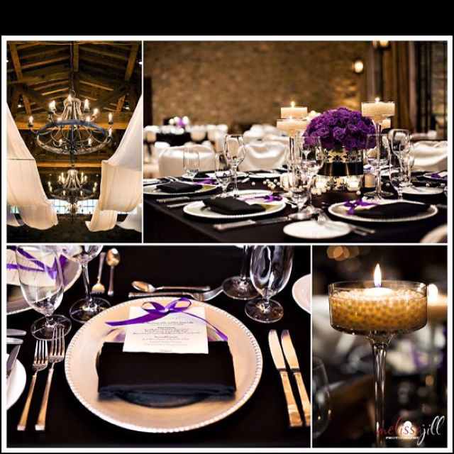 Black And Gold Wedding Decorations: 17 Best Images About Purple And Gold Table Settings On