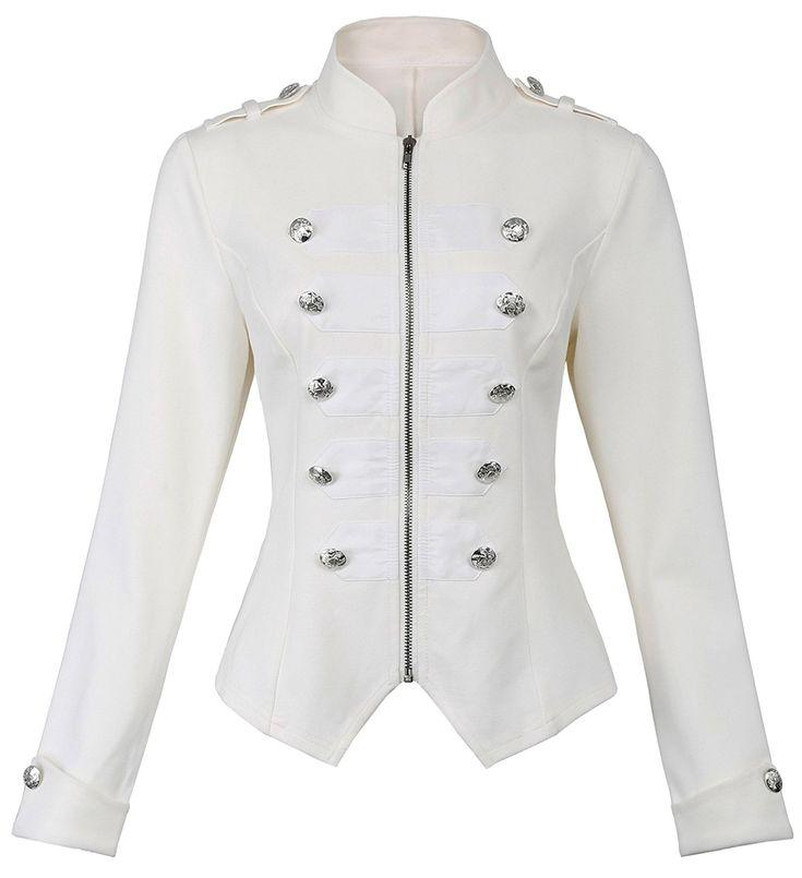 Amazon.com: Kate Kasin Womens Black Gothic Steampunk Buttons Decorated Jacket Coat Zipper Coat KK464: Clothing