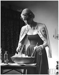 #NinaLeen #1949 Model tossing salad wearing latest sweater fashion NYC