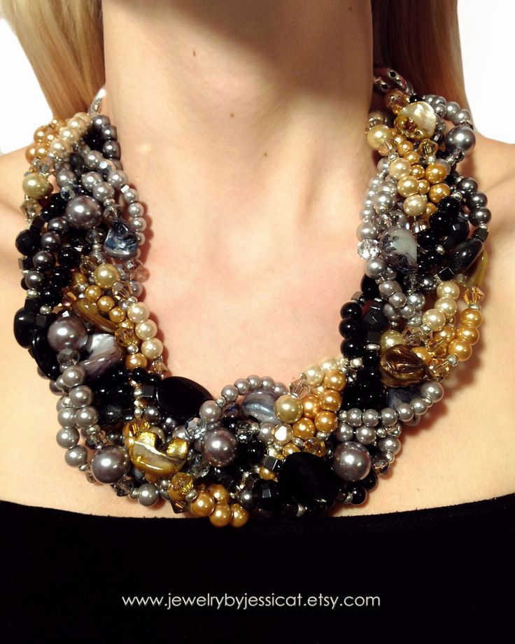 GRAND TWISTED, Statement Necklace, Black, Gray, Silver, Gold, Champagne, Graphite, Gunmetal,, Chunky, Jewelry by Jessica Theresa