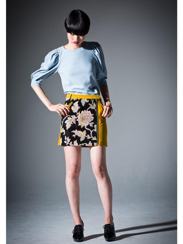 Jacquard and Yellow velveteen zipper skirt #short #skirt