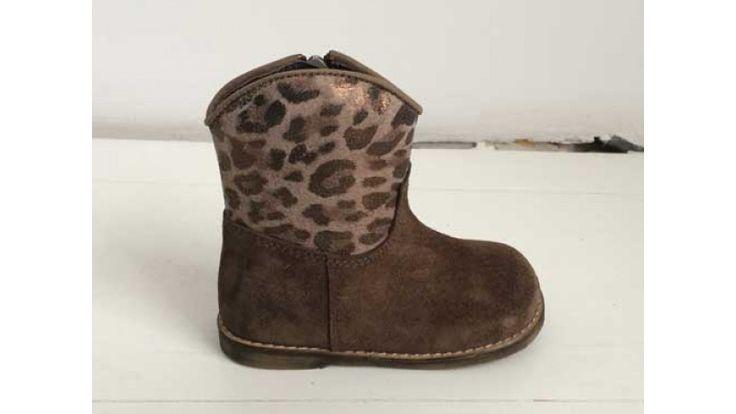 Clic laarsje bruin suède luipaard metallic