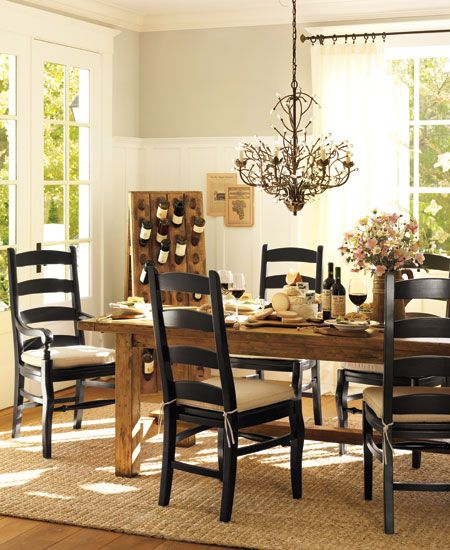 Pottery Barn Bennett Dining Table with Wynn Ladderback Chairs  I love the  rustic table with the black chairs    but not paying per chair. 34 best POTTERY BARN INSPIRED INTERIORS images on Pinterest   Barn