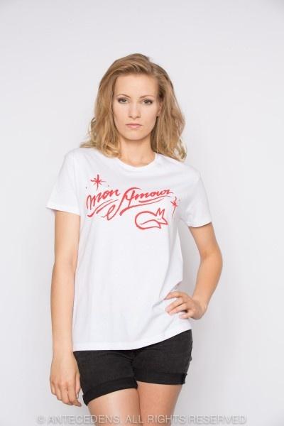 MASION KITSUNÉ ANDRÉ - MON AMOUR T-Shirt, Weiß/Rot - Unisex @ antecedens.de