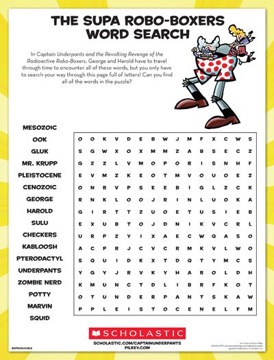 George and Harold from Captain Underpants travel through time to encounter these words, but your child only has to search through this page! Can your child find all of the words in the puzzle?