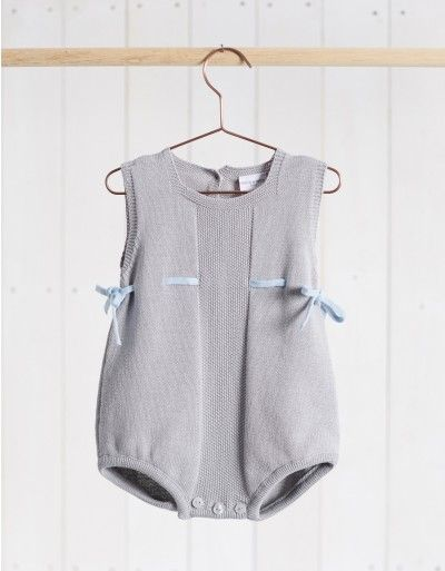 Neck & Neck Children's Fashion, Baby Knit Romper, Urban Baby Outfit, Knit Beige and Blue Onesie