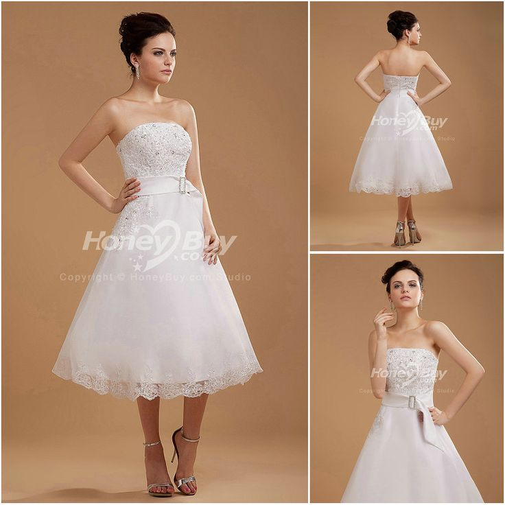 Perfectly Looking A Line Strapless Tea Length Lace Wedding