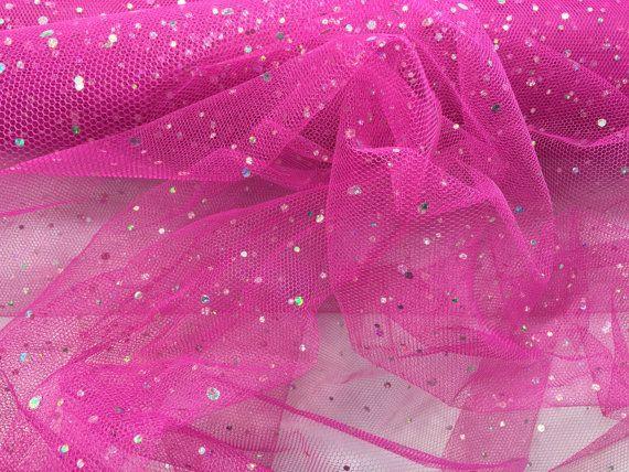 Hot Pink Spangle Tulle small hologram sequins tutu stiff netting net fabric wedding dress underskirt  dressmaking fabric - PER METRE