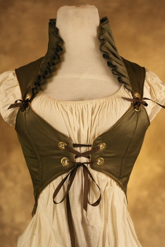 Costume for Curtis...Green Ruffle Empire Pirate Corset. I was definitely born in the wrong century.