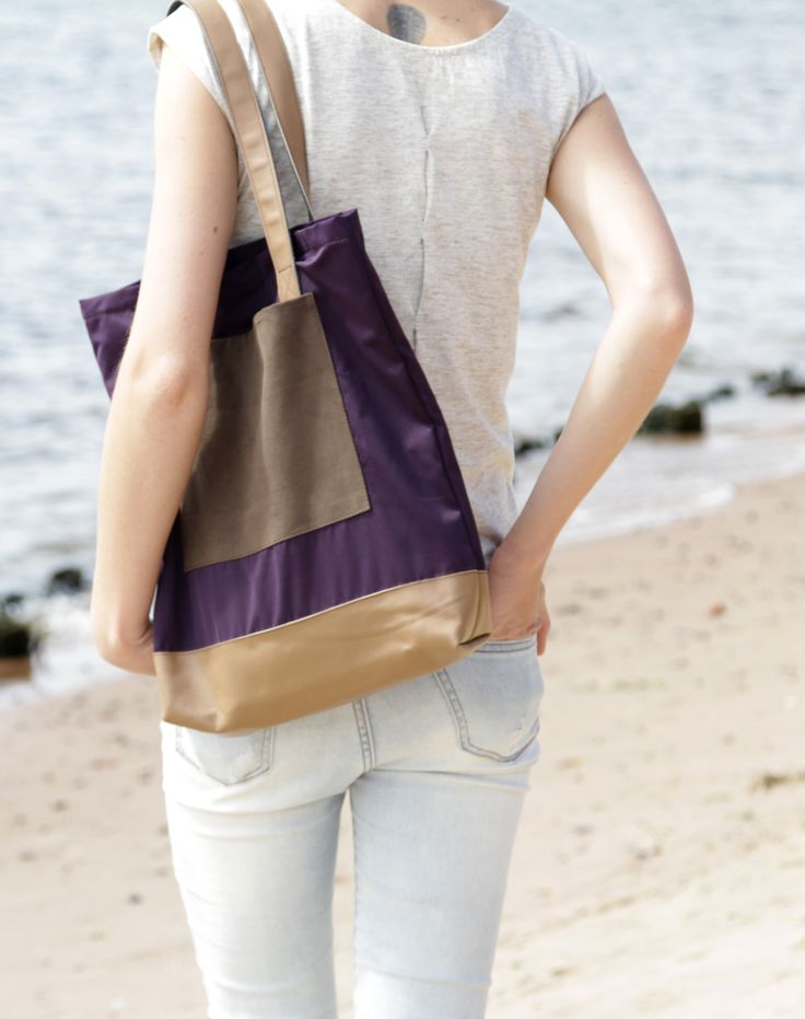 "Cotton Shopping Bag ""Hamilton"" with Leather Bottom and Zipper"