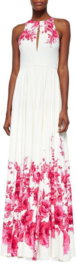 $2,995, White Floral Evening Dress: Lela Rose Floral Print Slit Keyhole Gown Peony. Sold by Neiman Marcus.