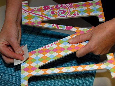 how to apply scrapbook paper on wooden letters!