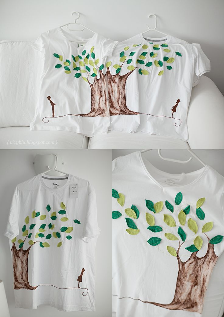 T-shirts for marriage anniversary, inspired from wedding invitation. The fabric leaves are sewn and the trunk is painted.