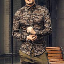 Camisa de los hombres de Camuflaje ocasional 2017 Del Otoño de Los Hombres de algodón de Manga Larga Camisa de vestir camisa masculina sociales homme lujo militar Delgado(China)