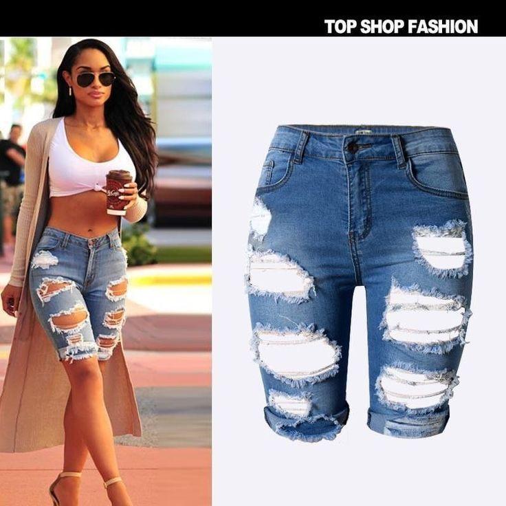 Women Street Style Blue Denim Elastic Hole Short Pants