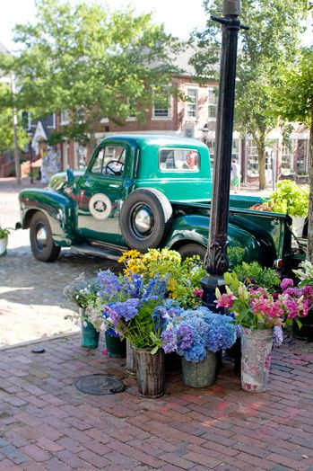 On #Nantucket classic vehicles fit right in. We've always loved the farm's use of restored old trucks to sell their wares on Main St.
