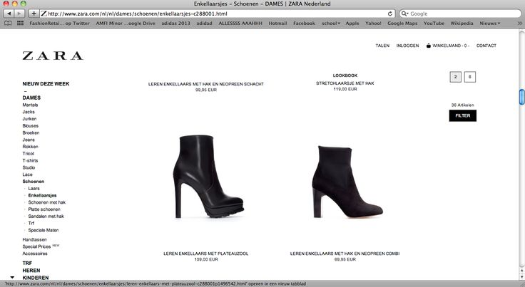 October 29 2013, 10.00 pm, at my home in Amsterdam. I want to have new ankleboots. First I go online to see what kind of shoes Zara has in the collection. The feeling I had about the online shop was unsatisfied. The thing that struck me the most was that I had the feeling the website did not gave me all of the information.