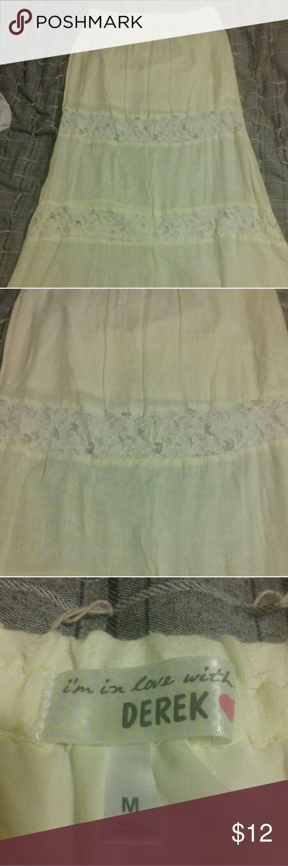 Cotton Maxi Skirt w/lace detail I'm In Love With Derek off-white, light, cotton maxi skirt with two horizontal lace bands. There's a short off-white skirt connected underneath the cotton skirt to keep from show-through of undergarments. Elastic waist. i'm in love with derek Skirts Maxi