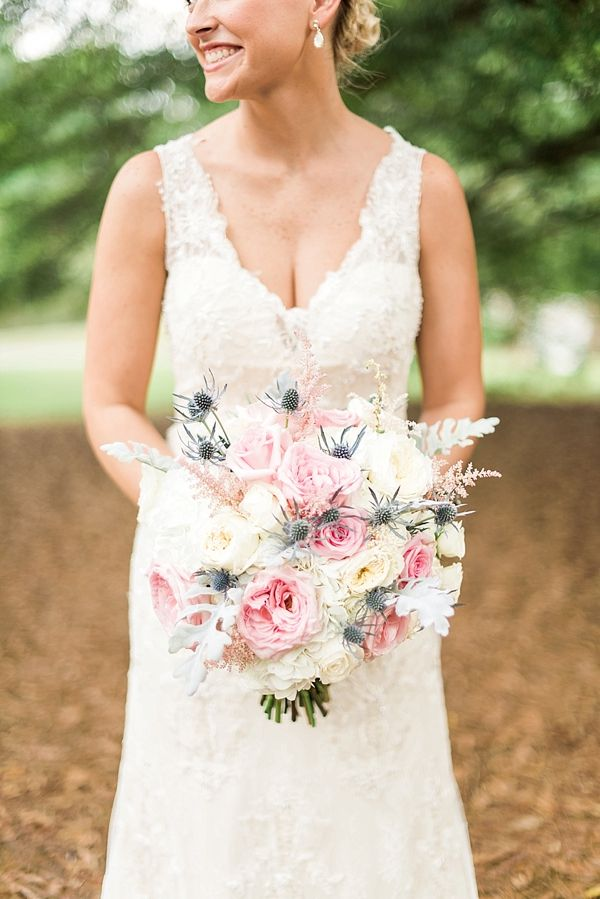 Summer Wedding Ideas - Pretty pink, white, and gray bridal bouquet by Southern Petals | Photographed by A.J. Dunlap Photography | The Oaks at Salem Summer Wedding on heartlovealways.com