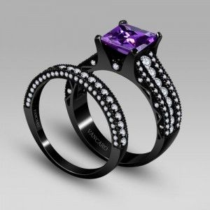 black and purple wedding rings http www vancaro purple cubic zirconia with princess 1807