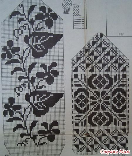 Flower pattern for knitted mittens