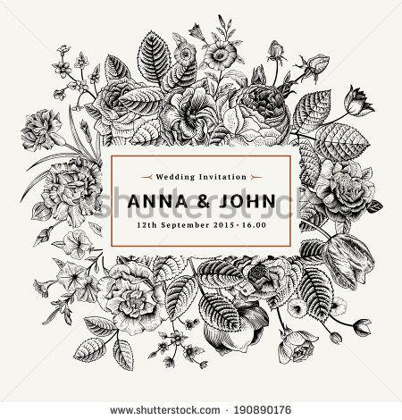Vintage elegant wedding invitation with summer flowers. Black and white vector illustration. - stock vector
