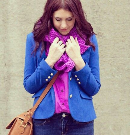 Royal blue blazer with fuschia blouse and scarf. Beige bag complements the look
