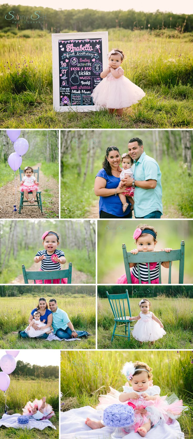 First birthday outdoor cake smash, first birthday baby stages photo session for a baby girl.  Sunny S-H Photography