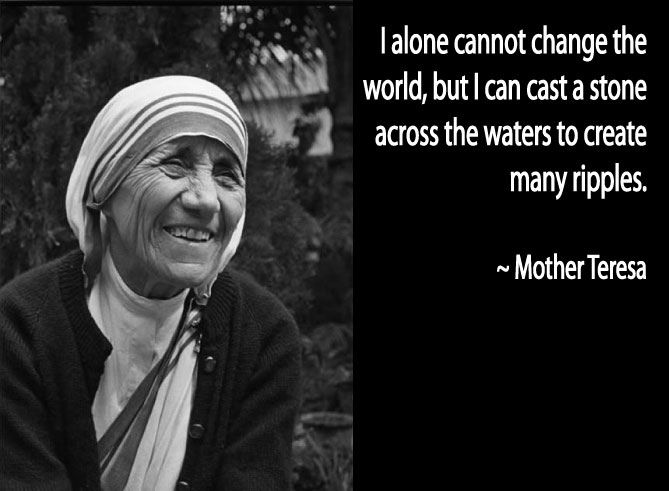 """I cannot change the world, but I can cast a stone across the waters to create many ripples"" - Mother Teresa, founder of Missionaries of Charity. The sisters ran hospices and homes for people with HIV/AIDS, leprosy and tuberculosis at a time when such people were treated as outcasts by most of society. #WomensHistoryMonth"