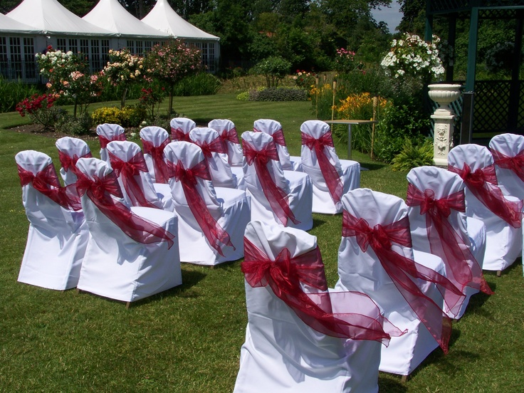 Burgundy Organza Bows on White Chair Covers