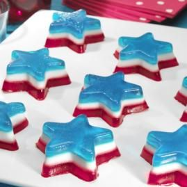Celebrate the 4th of July with an American classic. Bedazzling Mini Stars are red, white, and blue layered stars made with gelatin and whipped topping. A patriotic treat for a patriotic day.